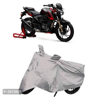 Polyester Fabric Water Resistant Two Wheeler(Bike) Body Cover for TVS Apache 310 with Ultra Surface Body Protection (Silver)