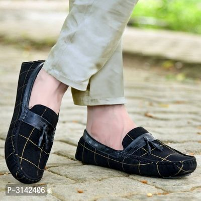 Men's Driving Black Suede Check Loafers