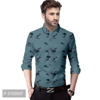 Men's Grey Cotton Printed Slim Fit Casual Shirt