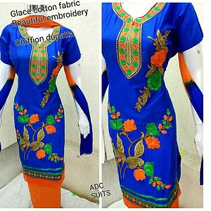 Dress Material in glace cotton