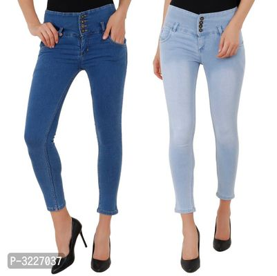 Stylish Multicoloured Solid Denim Women's Jeans(Pack Of 2)