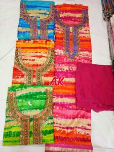 Cotton semistitched suit with hand work