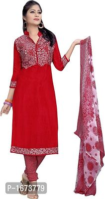 Red Printed Chiffon Dress Material with Dupatta