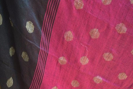 Black Jamadani Handwoven Linen Saree