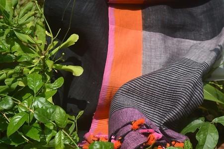 Black and orange Handwoven Linen Saree