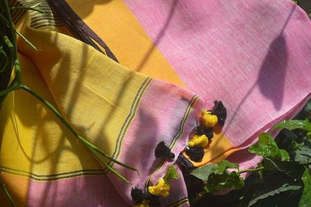 Yellow and Pink Handwoven Linen Saree