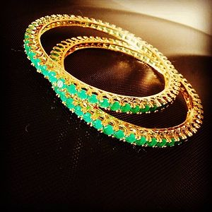 newest emerald jewellery product gemstone ruby design gold detail bangles amazing designer bangle