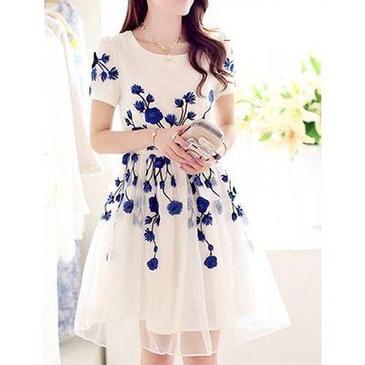White Faux Georgette Dress