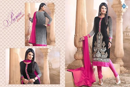 BLACK COLOR STYLIST HEAVY EMBROIDERY STRAIGHT CUT SALWAR SUIT