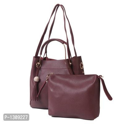 Maroon PU Shoulder Bag