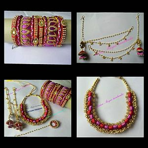 pink and red necklace,lotus design bangles, 2stel jumkas, maang tikka and ear to hair chain accessories