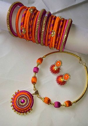 pink and orange bangles necklace and jumkas