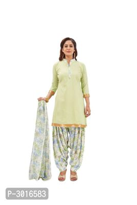 Green Printed Synthetic Dress Material With Dupatta