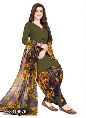 Alluring Green Printed Synthetic Dress Material with Dupatta