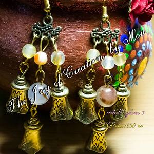 handmade , bell chandelier earrings with semiprecious agates