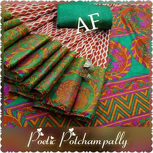 potchampally tussar silk saree with contrast poetic pretty pallu and contrast blouse...the joy of dressing is an art...drape different with an artistic annam design in potchampally...