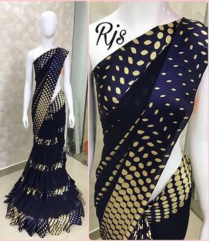 Make your lady angel..!! Bring paradise at your home..!! Design your wardrobe Services at your doorsteps😇 BEAUTIFUL GEOMETRICAL  GEORGETTE 5D SARTIN SAREE
