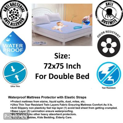 Waterproof Double Bed Mattress Protector Cover 72x75 Inch