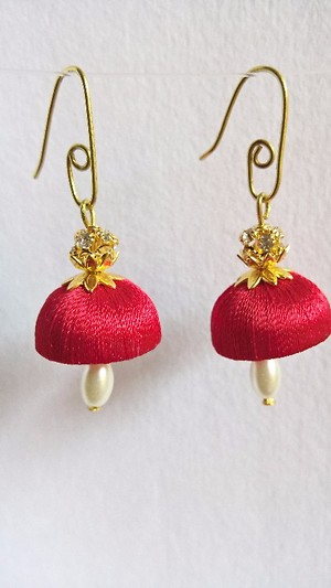 Red Jumka with Pearl