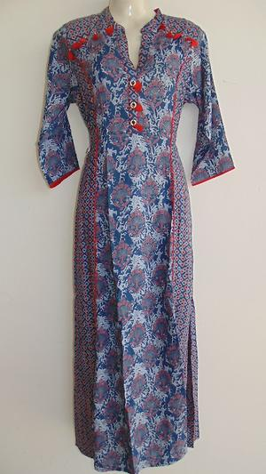 BLUE COLOR DESIGNER INDO WESTERN LONG FLOOR TOUCH FINE RAYON FABRIC  KURTI GOWN WITH WORK
