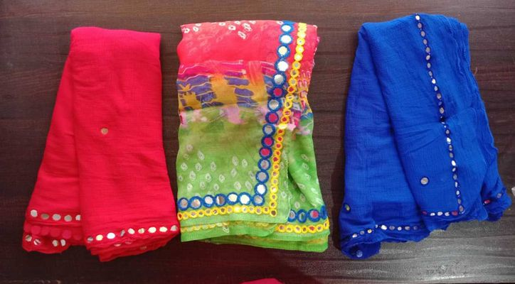 COMBO OF THREE(03) RED & BLUE CHIFFON, MULTI COLOR MIRROR WORK FANCY TISSUE DUPATTA