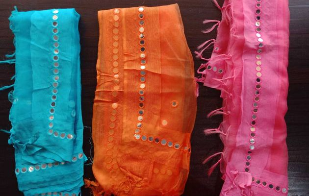 COMBO OF THREE(03) ORANGE, PINK, SKY BLUE COLOR MIRROR WORK FANCY TISSUE DUPATTA