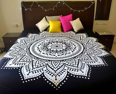 Black Ethnic Motifs Queen Size 1 Bedcover only