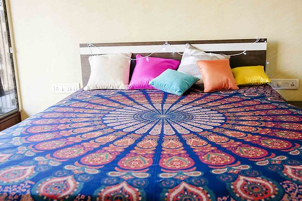 Multicoloured Ethnic Motifs Queen Size 1 Bedcover only