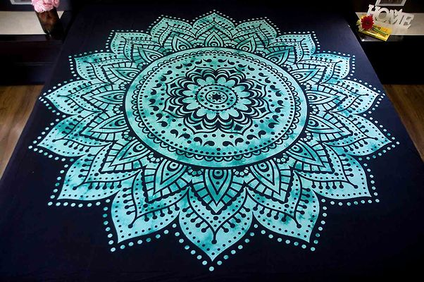 Green Ethnic Motifs Queen Size 1 Bedcover only