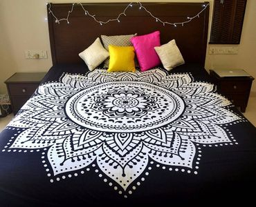 Black White Double Bed Mandala Cotton Bedspread Cover