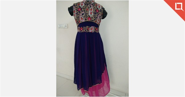 Blue pink heavy embroidery georget Gown