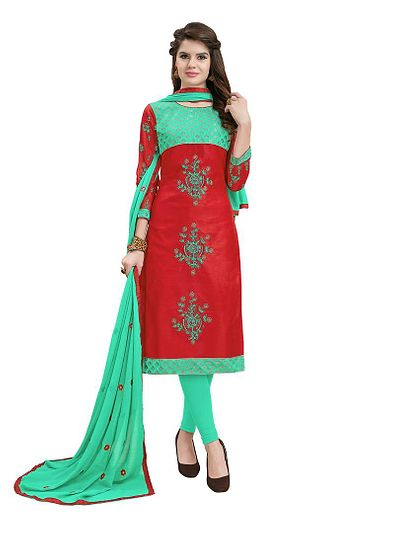 Details about  /Red Designer Printed Suit Cotton Blend Unstitched Material  Beautiful Multicolor