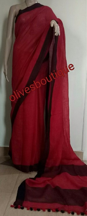 Handwoven linen Saree with blouse