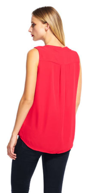 Sleeveless button down top with v-neckline -  Pink Red