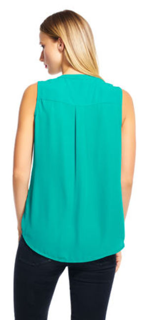 Sleeveless button down top with v-neckline - Seagreen