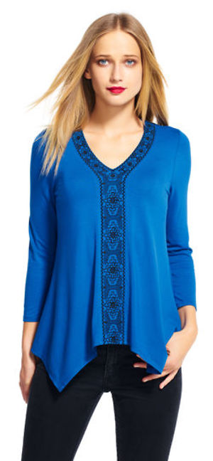 Three quarter sleeve hanky hem top with embroidery