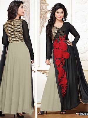 Black and Red Party Wear Georgette Designer Suit