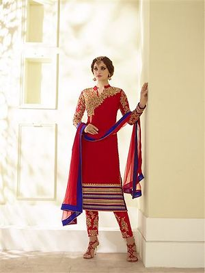 Red and Blue Party Wear Georgette/Mono Net Designer Suit