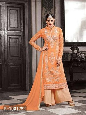 Orange and Silver Embroidered Georgette Party Wear Designer Suit