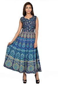 Blue Printed Anarkali Cotton Kurta