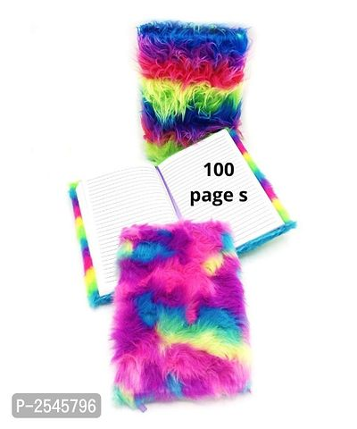 Rainbow Furry Notebook-100-Pages 1 Pcs Random Design Send (Rainbow Hair)