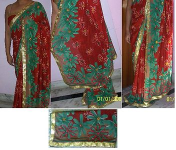 DESIGNER GEORGETTE STONE SETTING SAREE WITH BLOUSE PIECE
