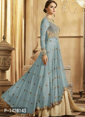 Blue Embroidered Georgette Dress Material