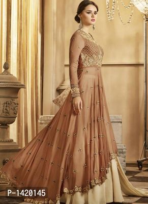 Beige Embroidered Georgette Dress Material