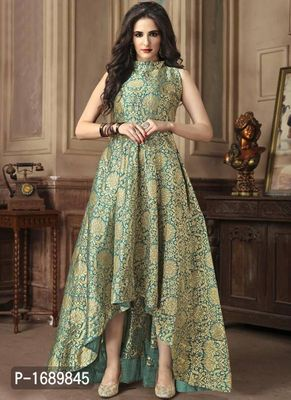 Green  Silk Blend Semi-Stitched Ethinic Gown