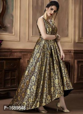 Golden  Silk Blend Semi-Stitched Ethinic Gown
