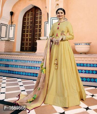 Yellow  Silk Blend Semi-Stitched Ethinic Gown