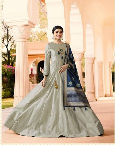 Grey  Silk Blend Semi-Stitched Ethinic Gown