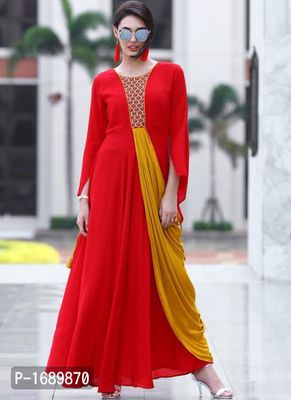 Red  Rayon Semi-Stitched Ethinic Gown