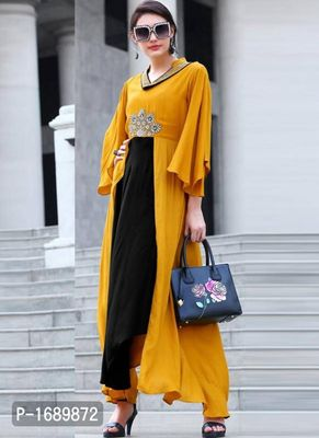 Yellow  Rayon Semi-Stitched Ethinic Gown